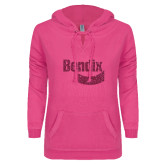 ENZA Ladies Hot Pink V Notch Raw Edge Fleece Hoodie-Bendix Hot Pink Glitter
