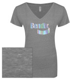 ENZA Ladies Graphite Melange V Neck Tee-Bendix Foil