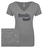 ENZA Ladies Graphite Melange V Neck Tee-Bendix Graphite Glitter