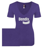 Next Level Ladies Vintage Purple Rush Tri Blend V Neck Tee-Bendix White Soft Glitter