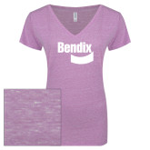 ENZA Ladies Violet Melange V Neck Tee-Bendix