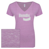 ENZA Ladies Violet Melange V Neck Tee-Bendix White Soft Glitter