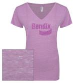ENZA Ladies Violet Melange V Neck Tee-Bendix Lilac Soft Glitter