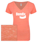 ENZA Ladies Coral Melange V Neck Tee-Bendix