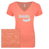 ENZA Ladies Coral Melange V Neck Tee-Bendix White Soft Glitter