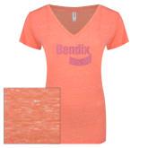 ENZA Ladies Coral Melange V Neck Tee-Bendix Coral Soft Glitter