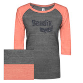 ENZA Ladies Dark Heather/Coral Vintage Triblend Baseball Tee-Bendix Graphite Glitter