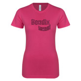 Next Level Ladies SoftStyle Junior Fitted Fuchsia Tee-Bendix Hot Pink Glitter