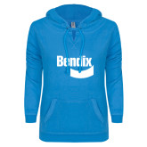 ENZA Ladies Pacific Blue V Notch Raw Edge Fleece Hoodie-Bendix