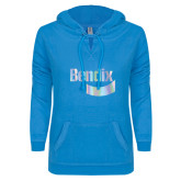 ENZA Ladies Pacific Blue V Notch Raw Edge Fleece Hoodie-Bendix Foil