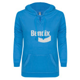 ENZA Ladies Pacific Blue V Notch Raw Edge Fleece Hoodie-Bendix White Soft Glitter