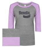 ENZA Ladies Athletic Heather/Violet Vintage Baseball Tee-Bendix Graphite Glitter