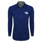 Ladies Navy Twill Button Down Long Sleeve-Bendix