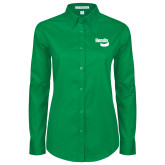 Ladies Kelly Green Twill Button Down Long Sleeve-Bendix