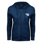 ENZA Ladies Navy Fleece Full Zip Hoodie-Bendix