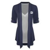 Ladies Navy Drape Front Cardigan-Bendix