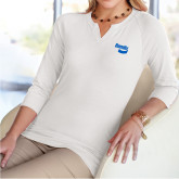Ladies V Notch White 3/4 Sleeve Shirt-Bendix