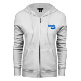 ENZA Ladies White Fleece Full Zip Hoodie-Bendix