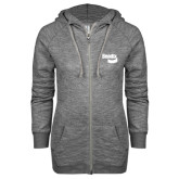 ENZA Ladies Grey/Black Marled Full Zip Hoodie-Bendix