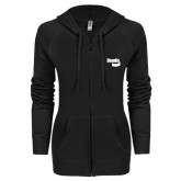 ENZA Ladies Black Light Weight Fleece Full Zip Hoodie-Bendix