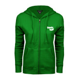 ENZA Ladies Kelly Green Fleece Full Zip Hoodie-Bendix