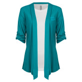 Ladies Teal Drape Front Cardigan-Bendix