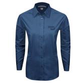 Ladies Deep Blue Tonal Pattern Long Sleeve Shirt-Bendix