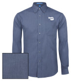 Mens Deep Blue Crosshatch Poplin Long Sleeve Shirt-Bendix
