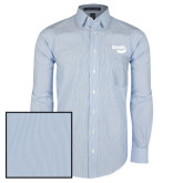 Mens French Blue/White Striped Long Sleeve Shirt-Bendix