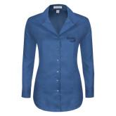 Ladies Red House Deep Blue Herringbone Non Iron Long Sleeve Shirt-Bendix