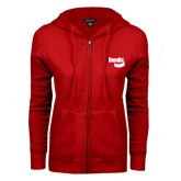 ENZA Ladies Red Fleece Full Zip Hoodie-Bendix