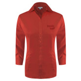 Ladies Red House Red 3/4 Sleeve Shirt-Bendix
