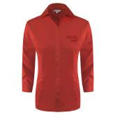 Ladies Red House Red 3/4 Sleeve Shirt-Bendix