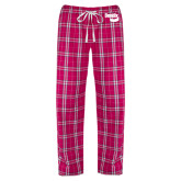 Ladies Dark Fuchsia/White Flannel Pajama Pant-Bendix