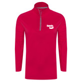 Ladies Pink Raspberry Sport Wick 1/4 Zip Pullover-Bendix