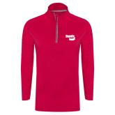 Ladies Pink Raspberry Sport Wick 1/4 Zip Pullover-Bendix