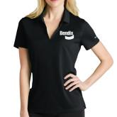 Ladies Nike Golf Dri Fit Black Micro Pique Polo-Bendix