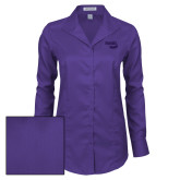 Ladies Red House Deep Purple Herringbone Long Sleeve Shirt-Bendix