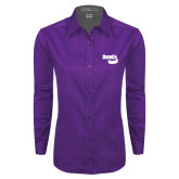 Ladies Purple Twill Button Down Long Sleeve-Bendix