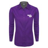 Ladies Purple Twill Button Down Long Sleeve-Bendix
