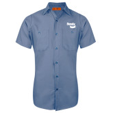 Red Kap Postman Blue Short Sleeve Industrial Work Shirt-Bendix