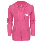 ENZA Ladies Hot Pink Light Weight Fleece Full Zip Hoodie-Bendix