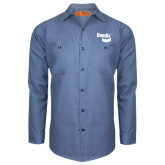 Red Kap Postman Blue Long Sleeve Industrial Work Shirt-Bendix