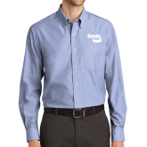 Mens Light Blue Crosshatch Poplin Long Sleeve Shirt-Bendix
