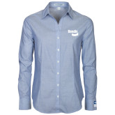 Ladies Light Blue Crosshatch Poplin Long Sleeve Shirt-Bendix