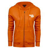 ENZA Ladies Orange Fleece Full Zip Hoodie-Bendix