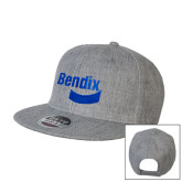 Heather Grey Wool Blend Flat Bill Snapback Hat-Bendix