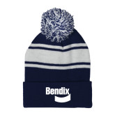 Navy/White Two Tone Knit Pom Beanie w/Cuff-Bendix