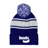 Royal/White Two Tone Knit Pom Beanie w/Cuff-Bendix