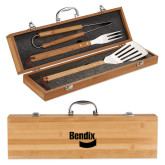 Grill Master 3pc Bamboo BBQ Set-Bendix Engraved